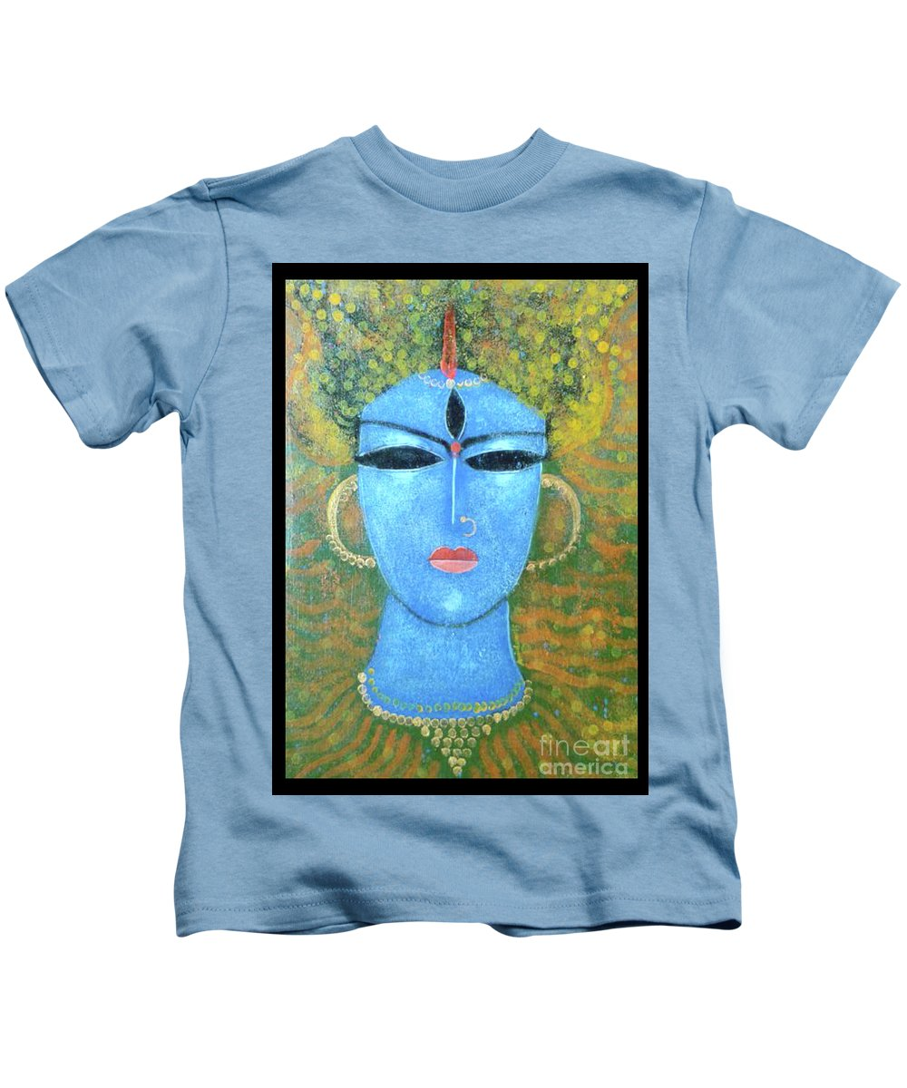 God Kids T-Shirt featuring the painting GOD by Arindam Chakraborty