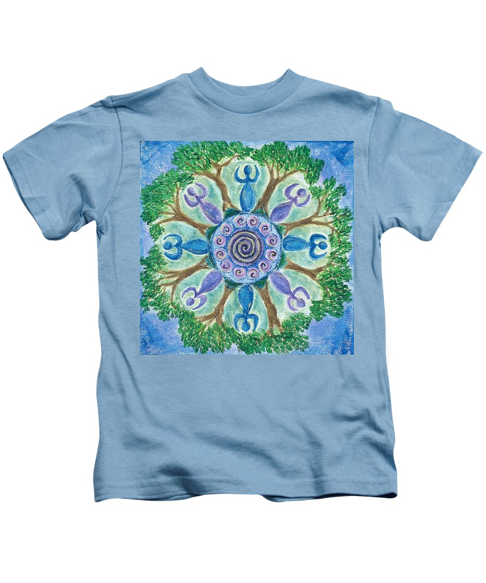 Goddess Kids T-Shirt featuring the painting Goddesses Dancing by Charlotte Backman