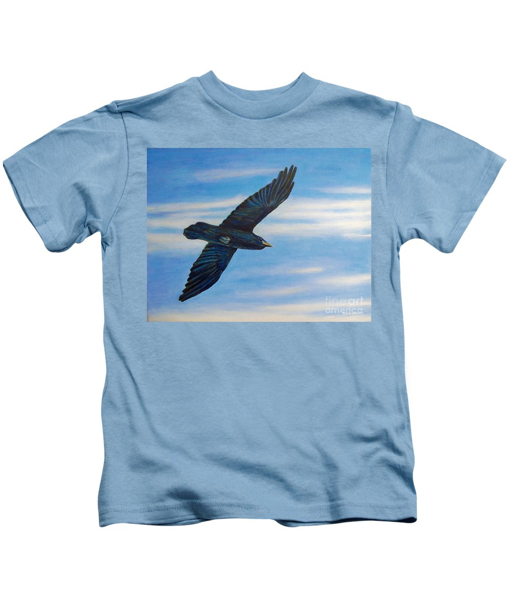 Bird Kids T-Shirt featuring the painting Going Home by Brian Commerford