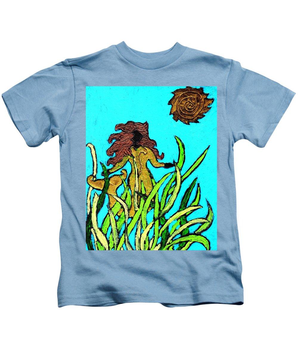Mermaid Kids T-Shirt featuring the painting Golden Mermaid by Wayne Potrafka