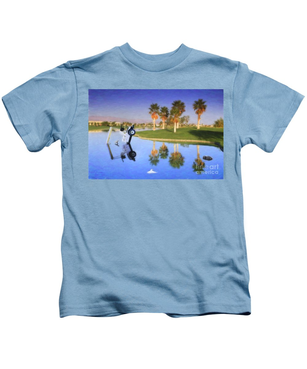 Golf Cart In Water Kids T-Shirt featuring the photograph Golf Cart Stuck In Water by David Zanzinger