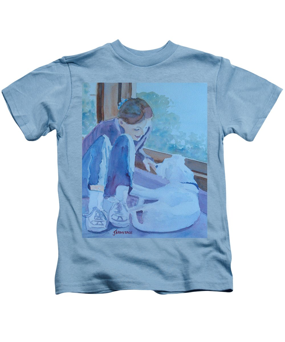 Girl Kids T-Shirt featuring the painting Good Morning Puppy by Jenny Armitage