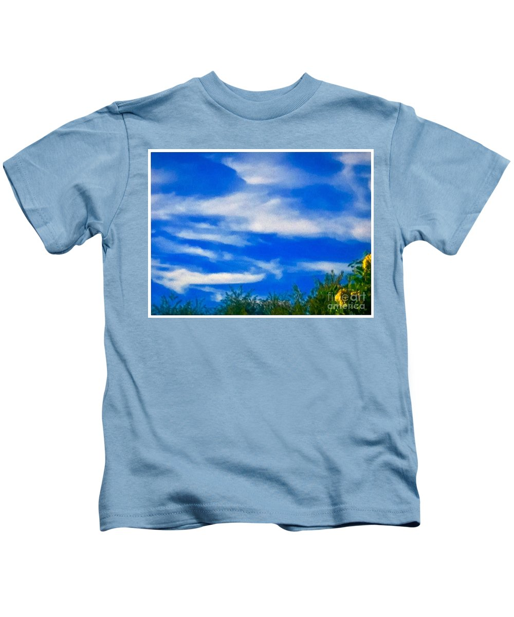 Deep/blue Kids T-Shirt featuring the photograph Gorgeous Blue Sky With Clouds by Debra Lynch