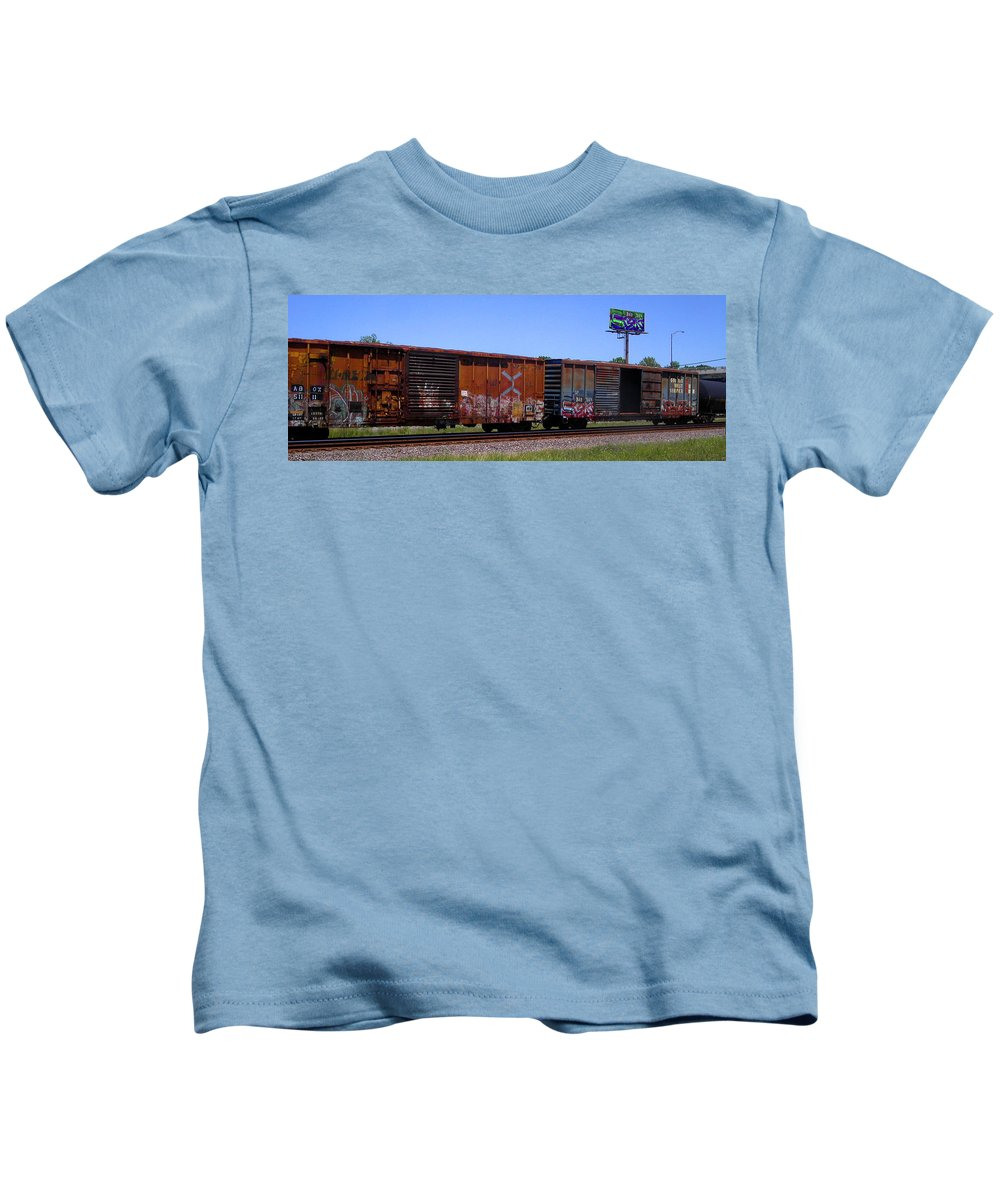 Train Kids T-Shirt featuring the photograph Graffiti Train With Billboard by Anne Cameron Cutri