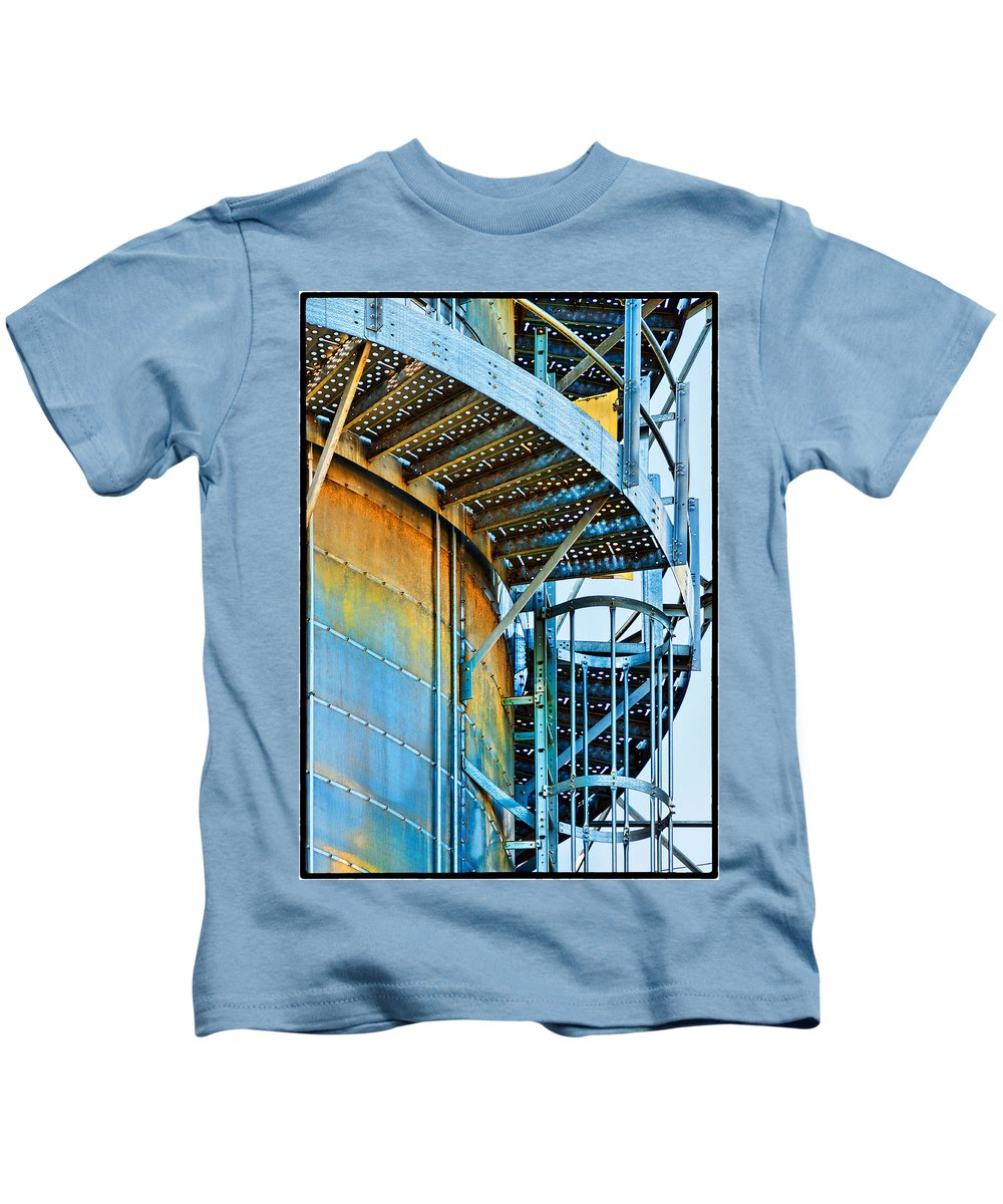Grain Tower Kids T-Shirt featuring the photograph Grain Tower Stairs by Anita Bower
