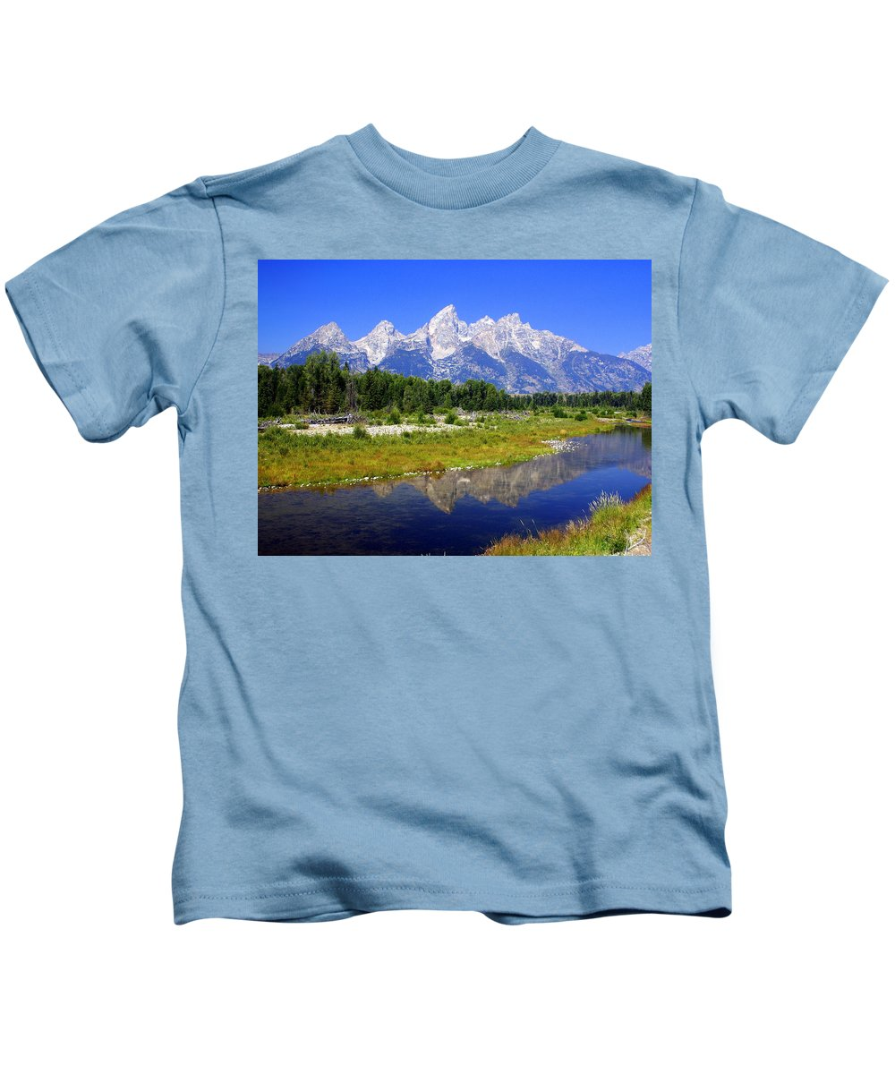 Grand Teton National Park Kids T-Shirt featuring the photograph Grand Tetons by Marty Koch