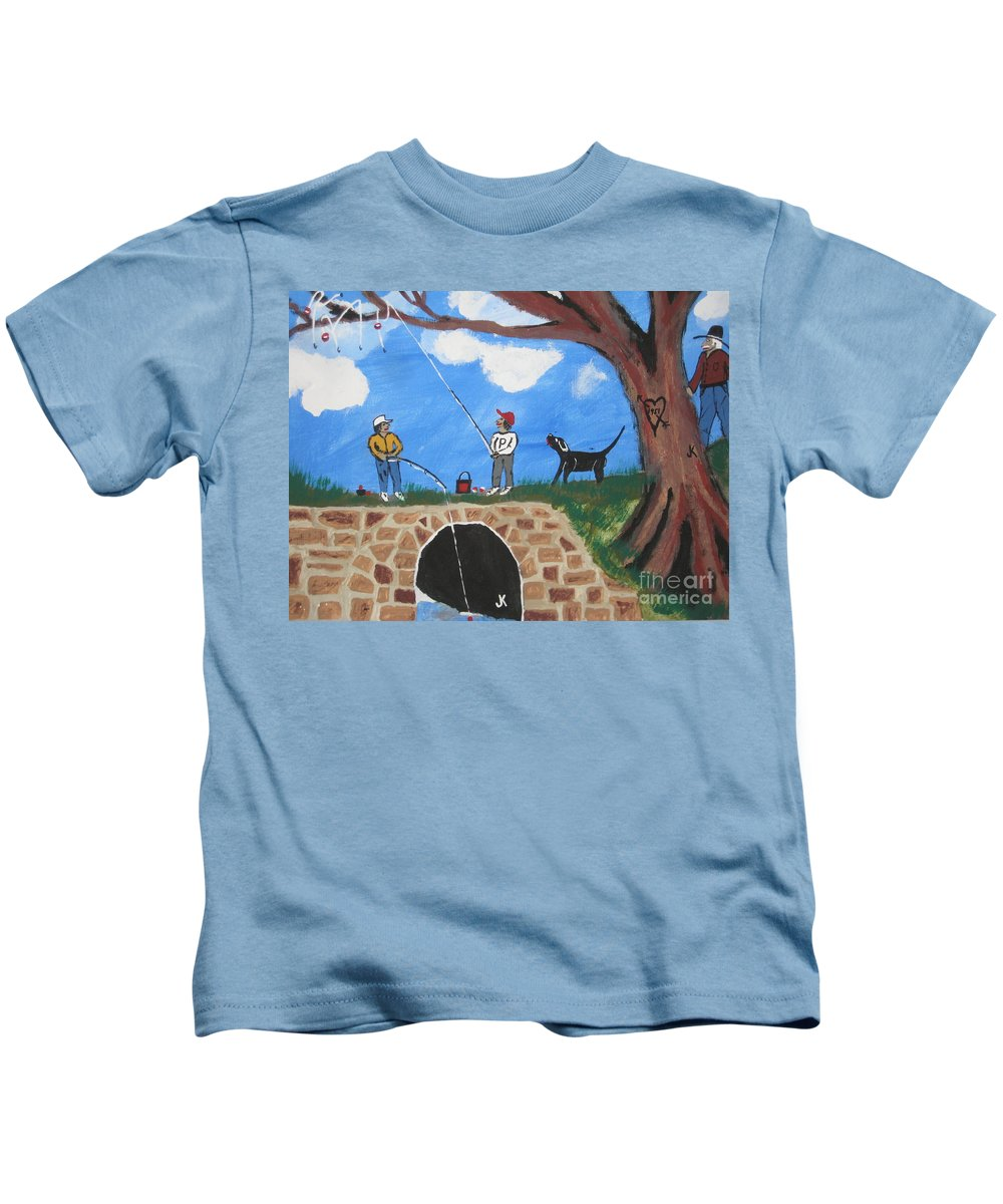 Kids T-Shirt featuring the painting Grandpap He Did It Again. by Jeffrey Koss