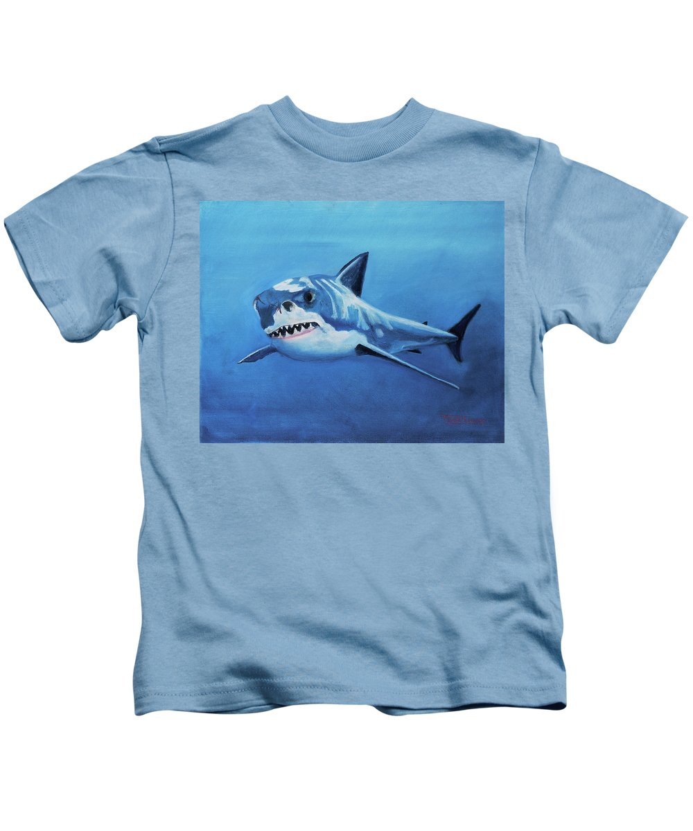Shark Kids T-Shirt featuring the painting Great White 2 by Terry Lewey