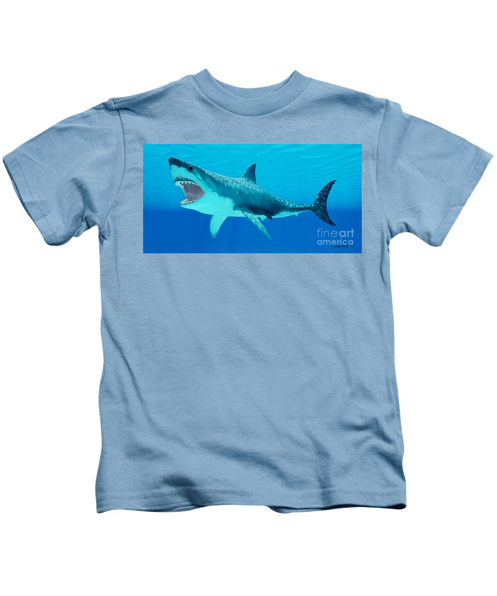 Great White Shark Kids T-Shirt featuring the painting Great White Shark Underwater by Corey Ford