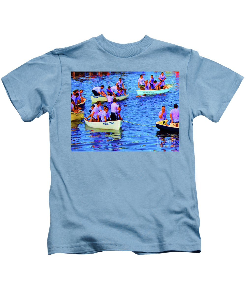 Tarpon Springs Kids T-Shirt featuring the photograph Greek Brotherhood by Jost Houk