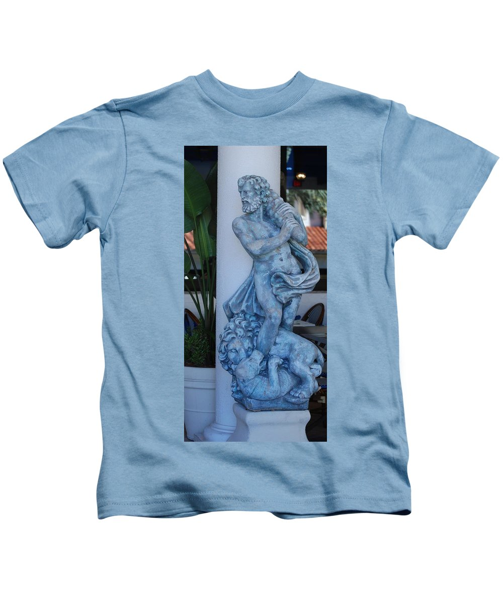 Statue Kids T-Shirt featuring the photograph Greek Dude And Lion In Blue by Rob Hans