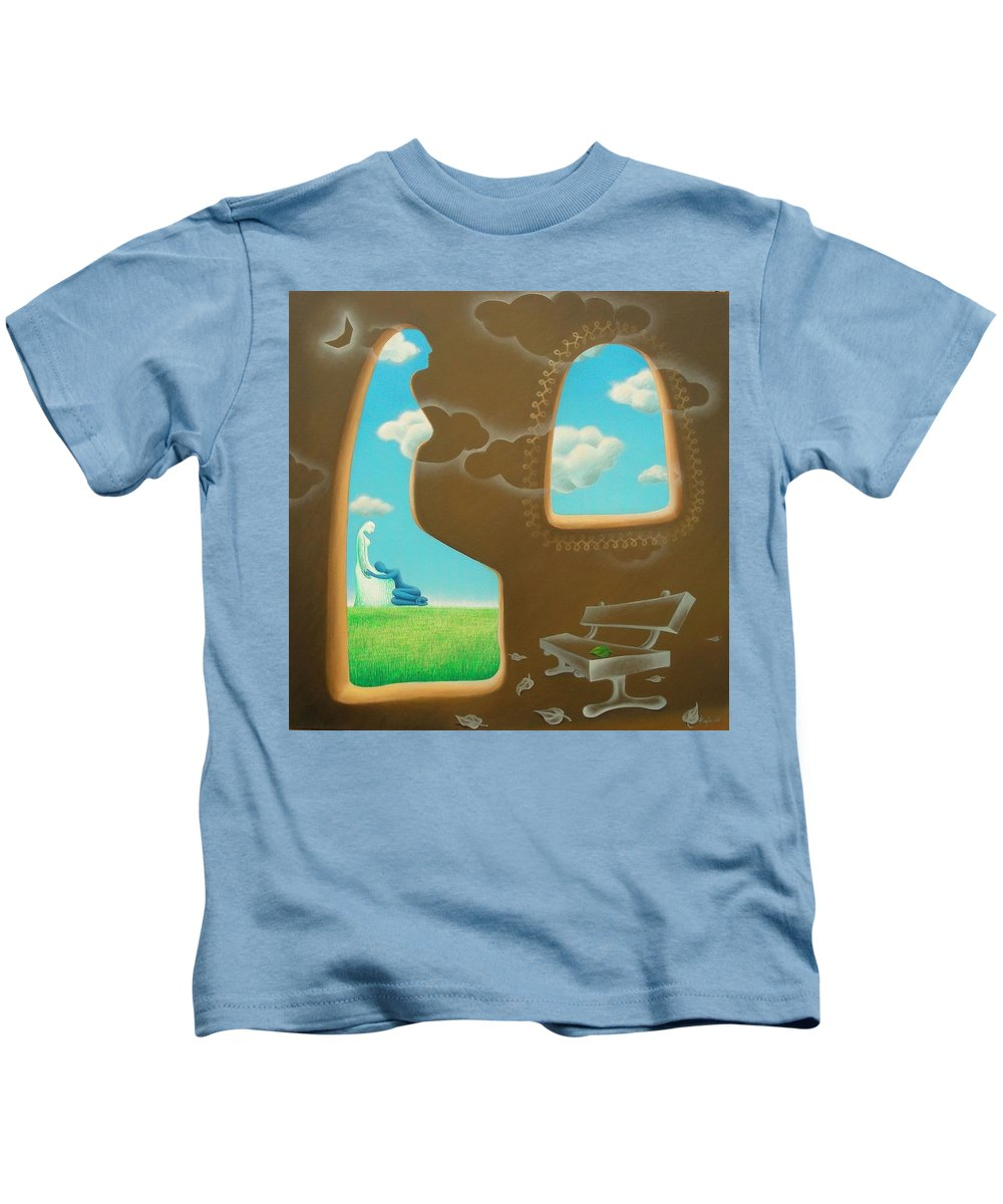 Romantic Kids T-Shirt featuring the painting Green And Blue by Raju Bose
