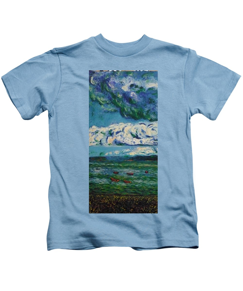 Landscape Kids T-Shirt featuring the painting Green Beach by Ericka Herazo
