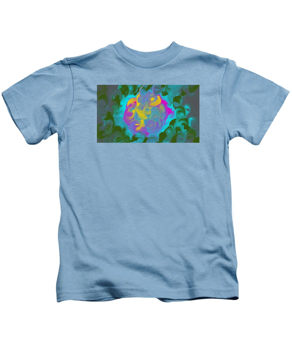 Abstract Kids T-Shirt featuring the painting Green Fire by Katey Love