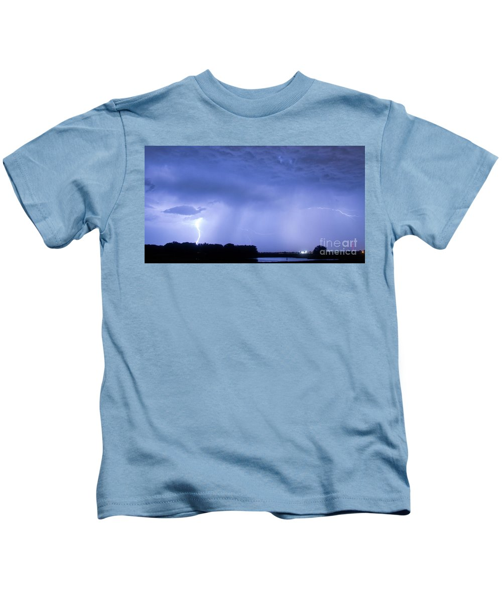 Green Kids T-Shirt featuring the photograph Green Lightning Bolt Ball And Blue Lightning Sky by James BO Insogna