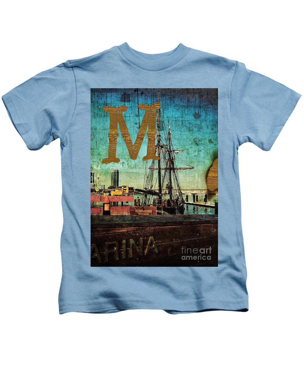 Melbourne Kids T-Shirt featuring the photograph Grungy Melbourne Australia Alphabet Series Letter M Marina Dockl by Beverly Claire Kaiya