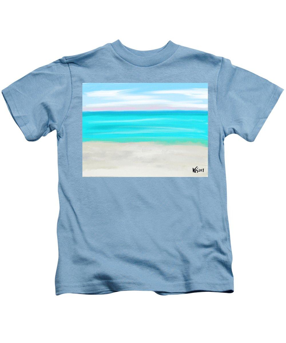 Beach Kids T-Shirt featuring the digital art Gulf Beach by Michael Kallstrom