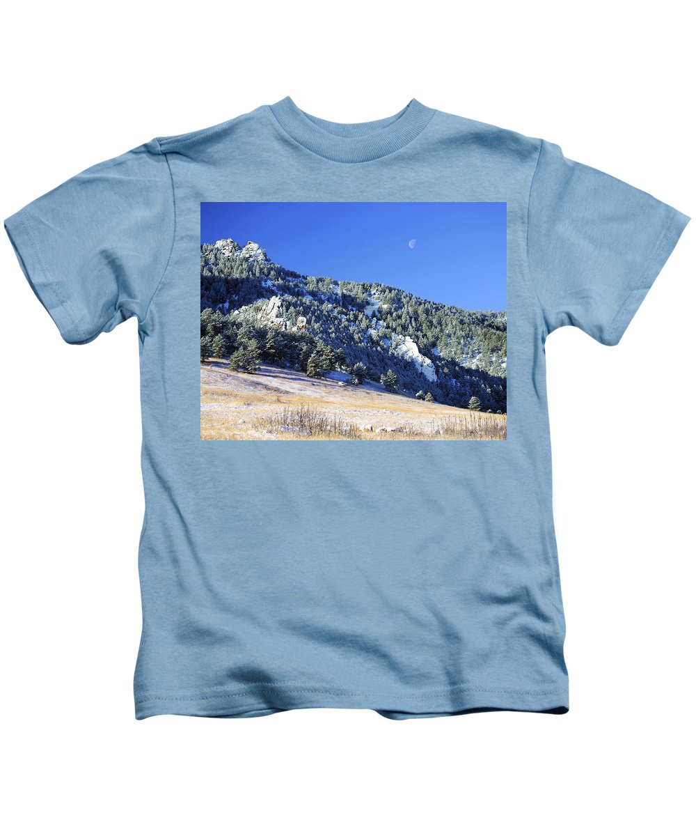 Nature Kids T-Shirt featuring the photograph Half Moon Over The Flatirons by Marilyn Hunt