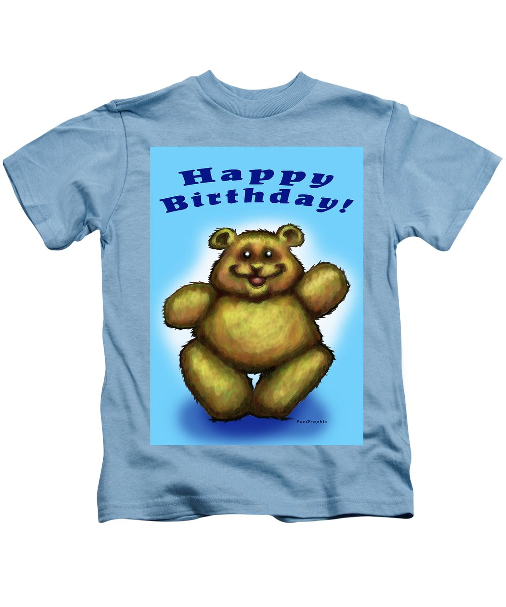 Happy Birthday Kids T-Shirt featuring the greeting card Happy Birthday Bear by Kevin Middleton
