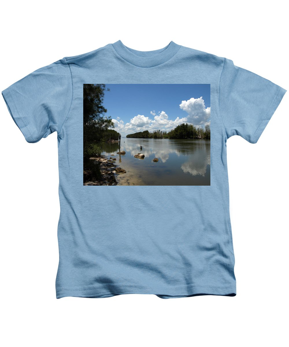 Eco-tourist; Ecotourist; Eco; Tourist; Kayak; Manatee; Sea; Cow; Ecology; Environment; Endangered; S Kids T-Shirt featuring the photograph Haulover Canal On The Space Coast Of Florida by Allan Hughes