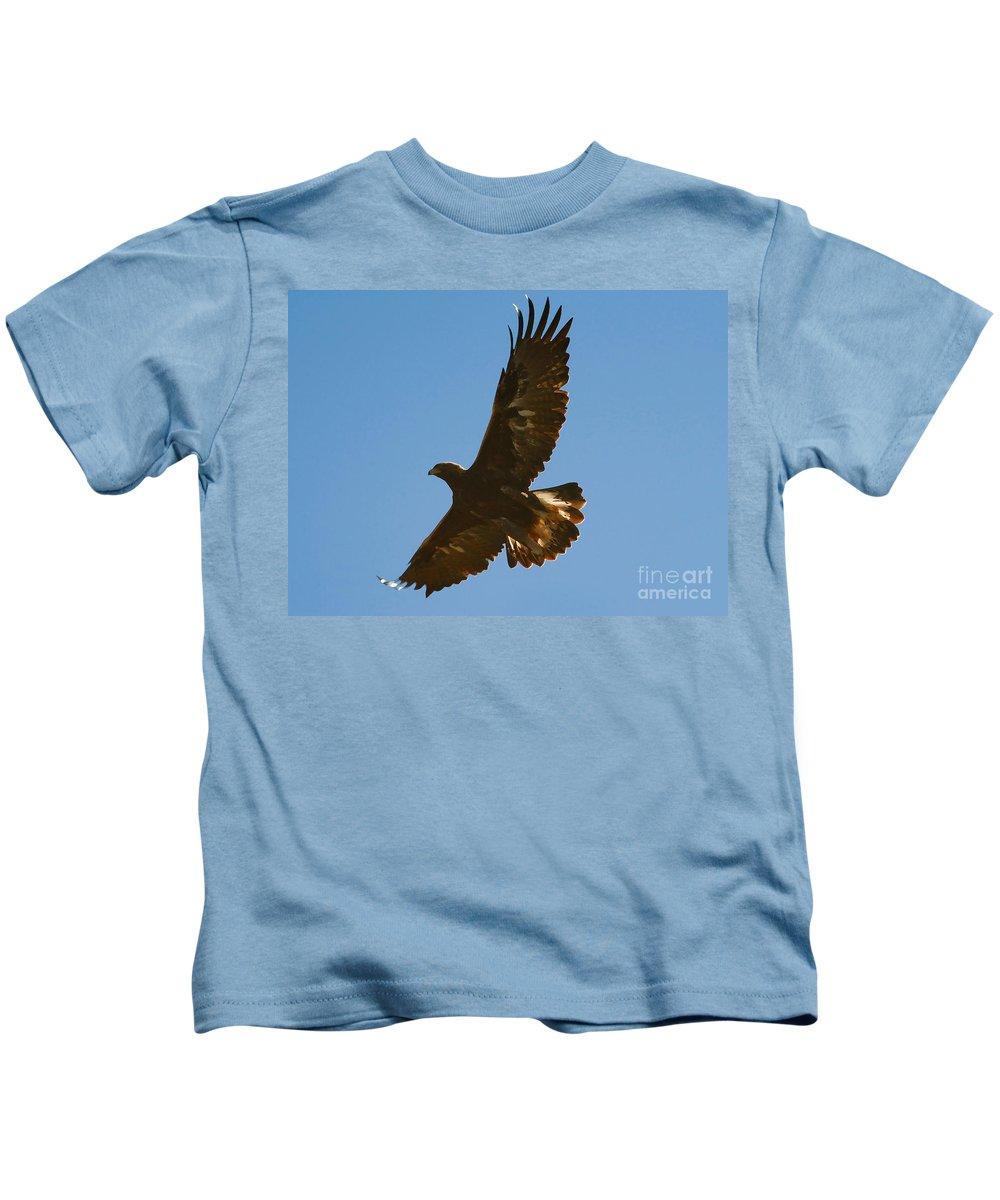 Hawk Kids T-Shirt featuring the photograph Hawk In Flight by David Lee Thompson