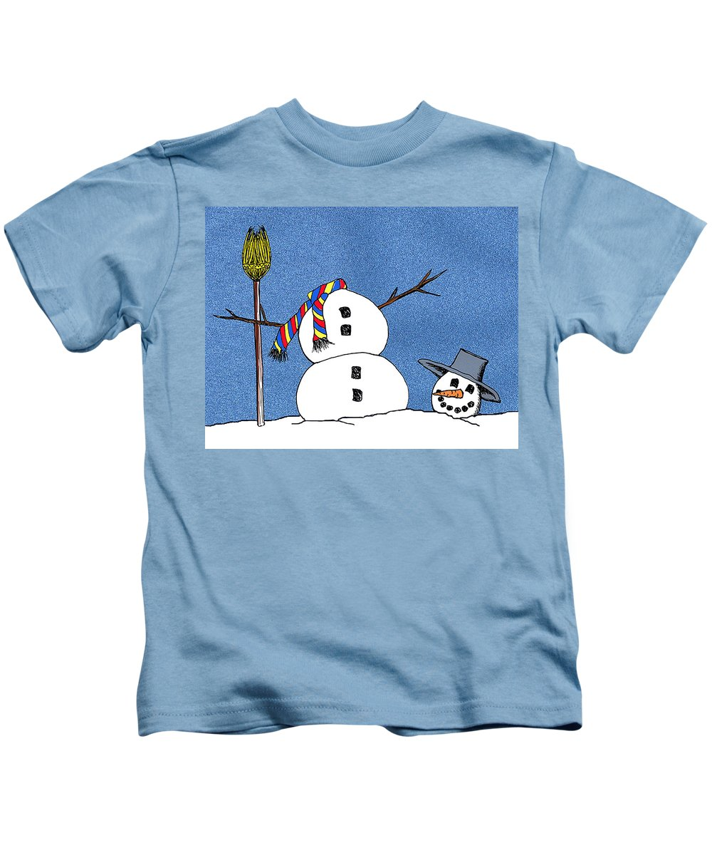 Snowman Kids T-Shirt featuring the digital art Headless Snowman by Nancy Mueller