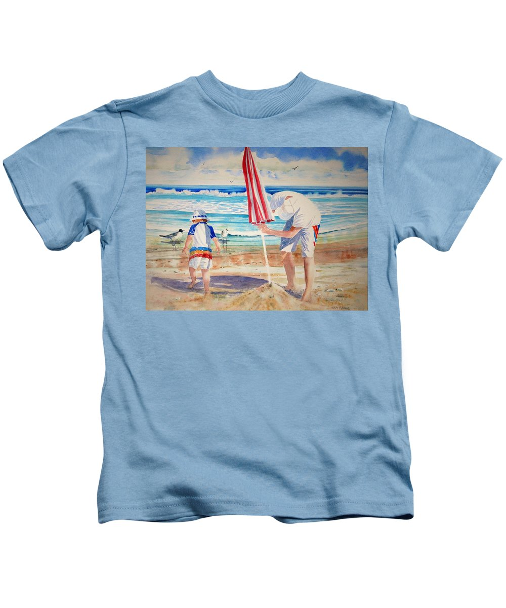 Beach Kids T-Shirt featuring the painting Helping Dad Set Up The Camp by Tom Harris