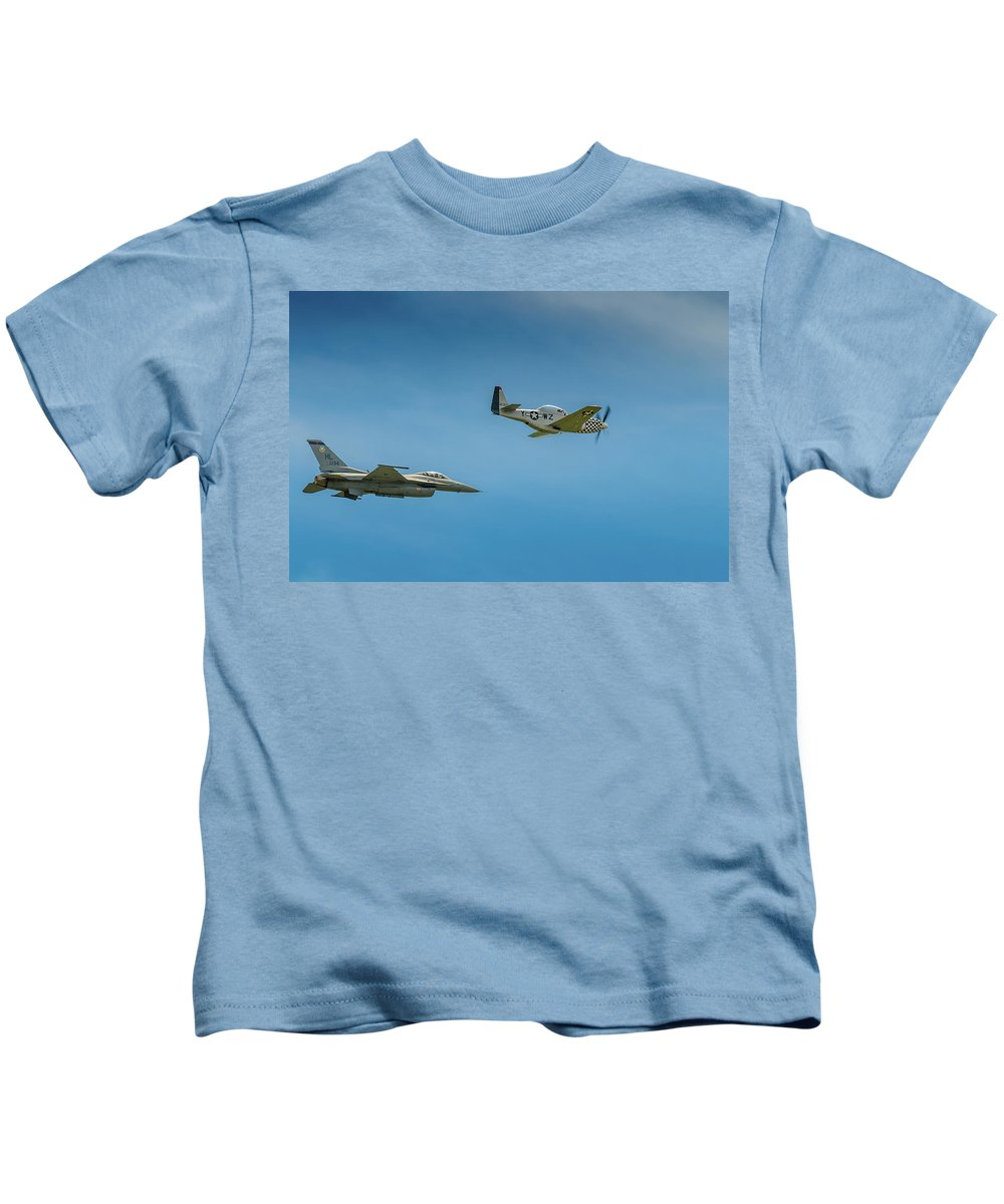 Aircraft Kids T-Shirt featuring the photograph Heritage Flight by Javier Flores