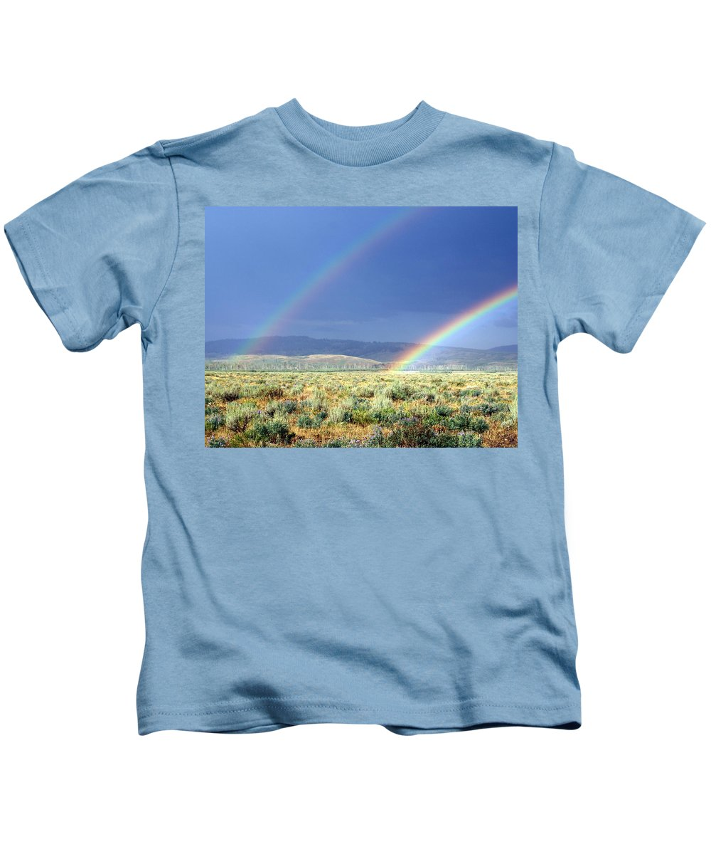 Rainbow Kids T-Shirt featuring the photograph High Dessert Rainbow by Marty Koch
