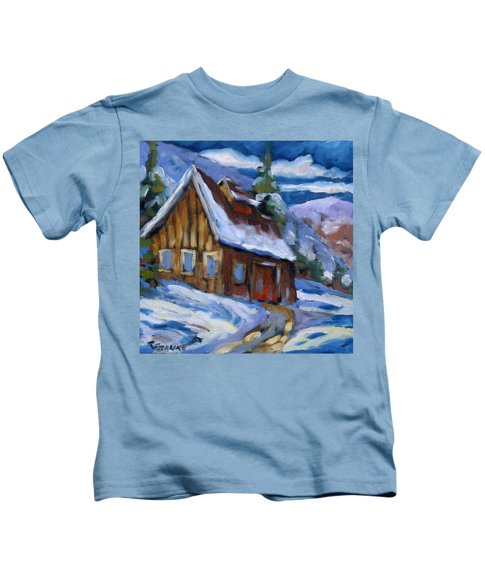 Art Kids T-Shirt featuring the painting Hillsidebarn In Winter by Richard T Pranke