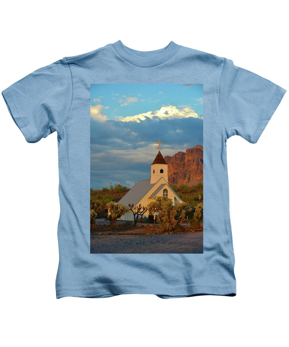 Scenic Kids T-Shirt featuring the photograph Historic Church In Superstition Mountain State Park by Richard Jenkins
