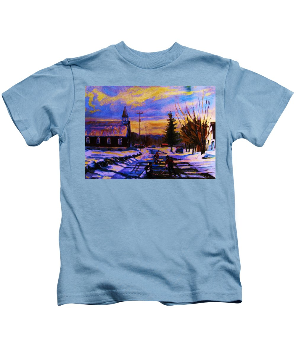 Montreal Kids T-Shirt featuring the painting Hockey Game In The Village by Carole Spandau