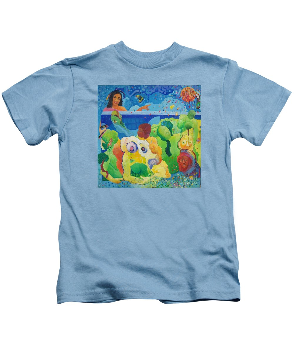 Human Relationships Kids T-Shirt featuring the painting Holding Lifes Illusion by Richard Heley