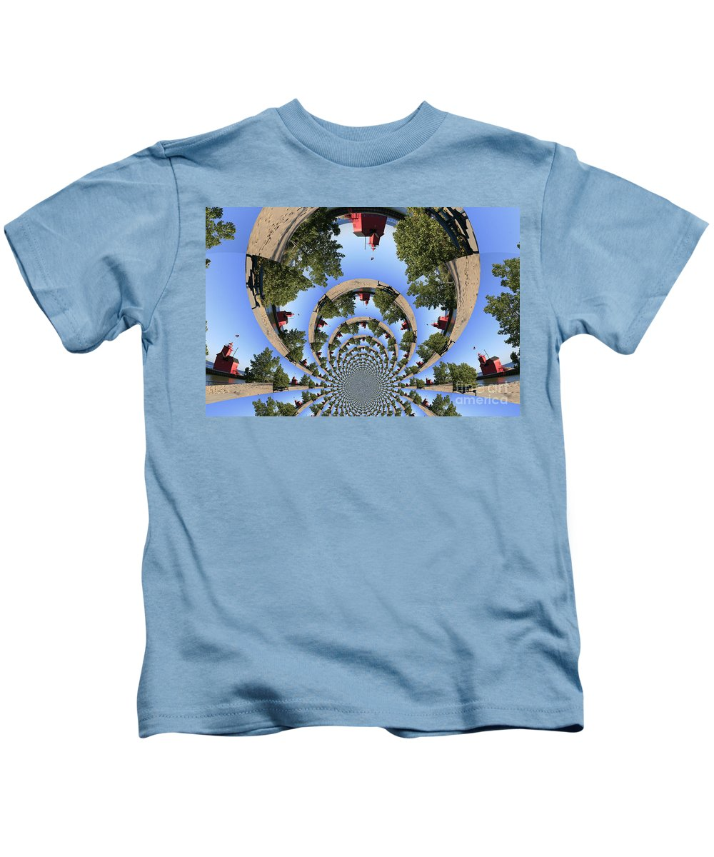 Seascape Kids T-Shirt featuring the photograph Holland Michigan Light House by Robert Pearson