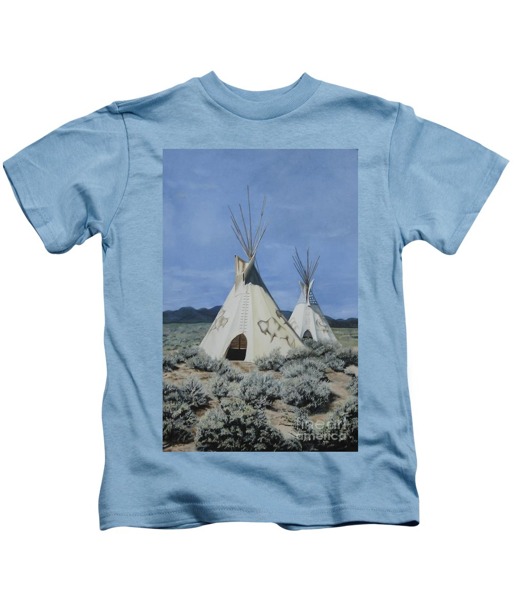 Art Kids T-Shirt featuring the painting Home On The Range by Mary Rogers