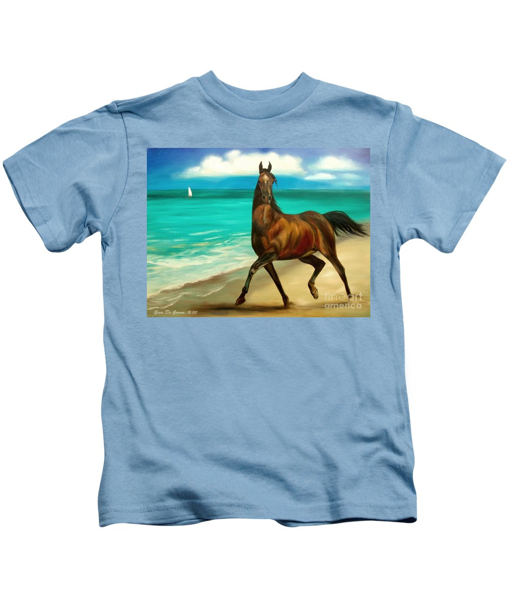 Horse Kids T-Shirt featuring the painting Horses In Paradise Dance by Gina De Gorna