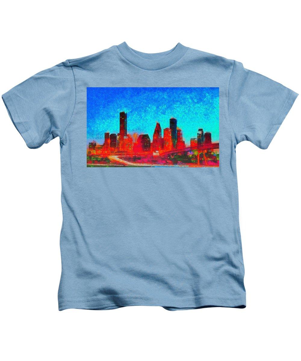 Houston Skyline Kids T-Shirt featuring the painting Houston Skyline 131 - Pa by Leonardo Digenio