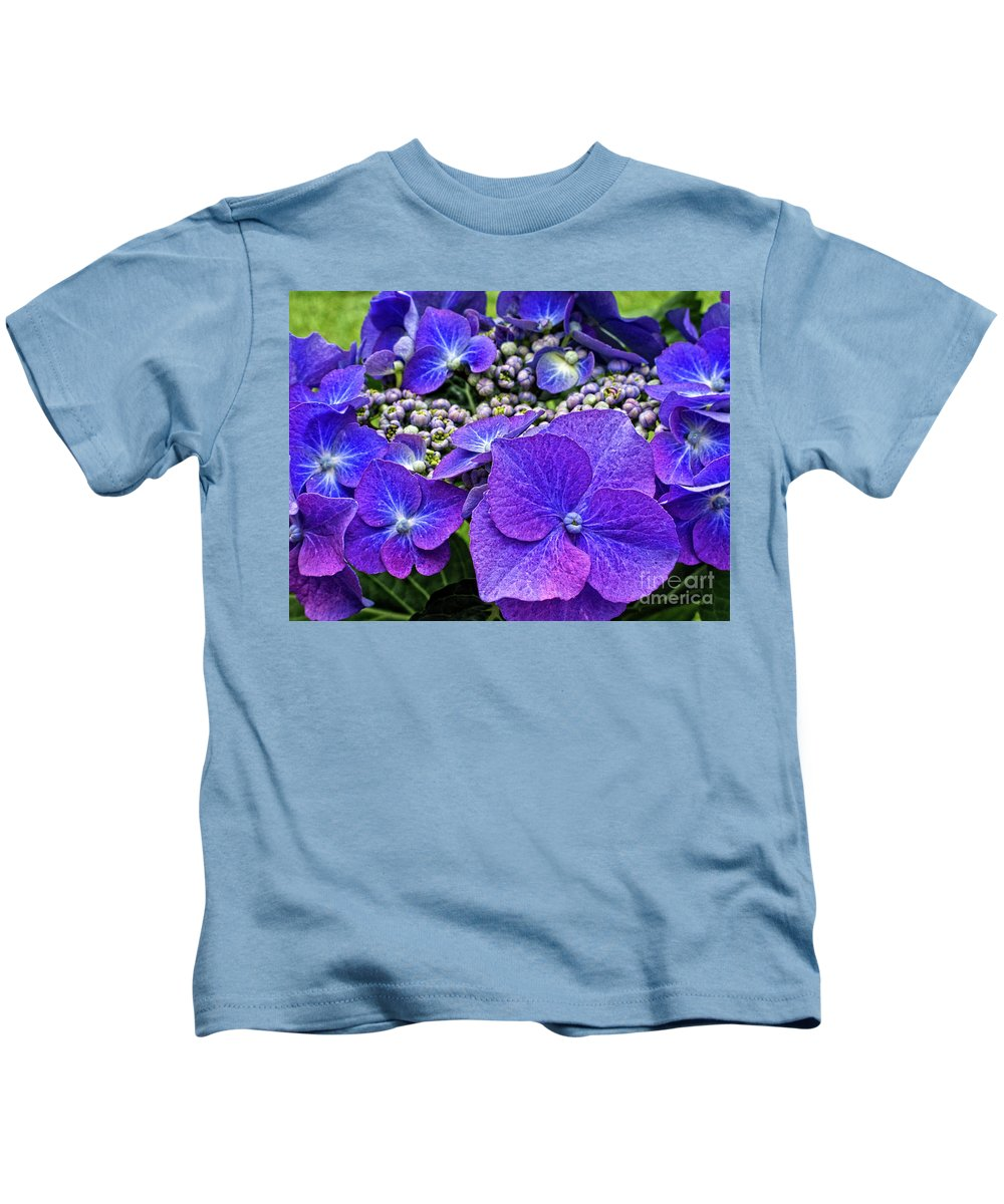 Hydrangea Macrophylla Teller Kids T-Shirt featuring the photograph Hydrangea Plant by Kevin Richardson