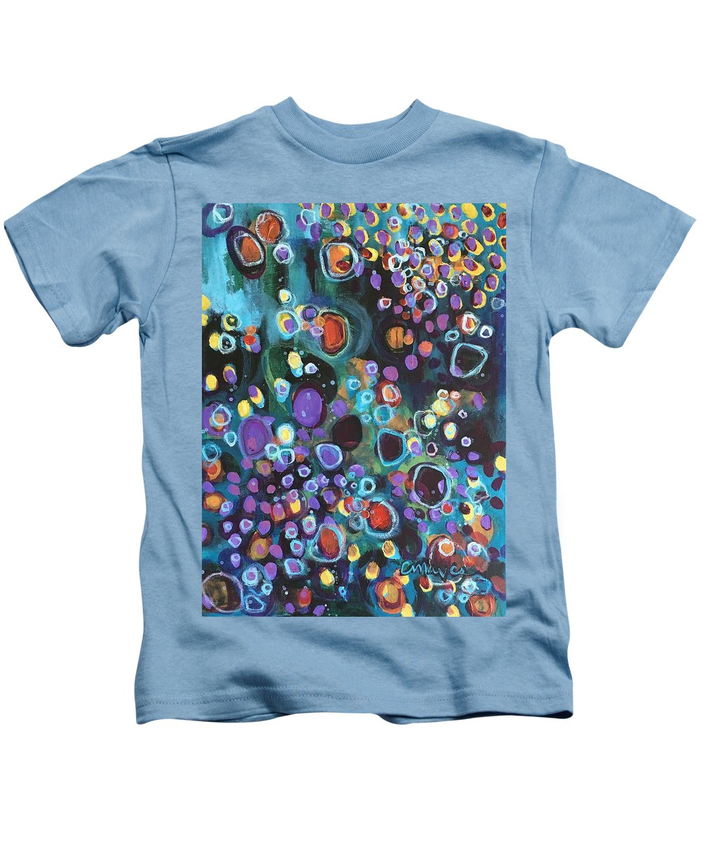 Circle Kids T-Shirt featuring the painting I Need An Answer Please by Laurie Maves ART