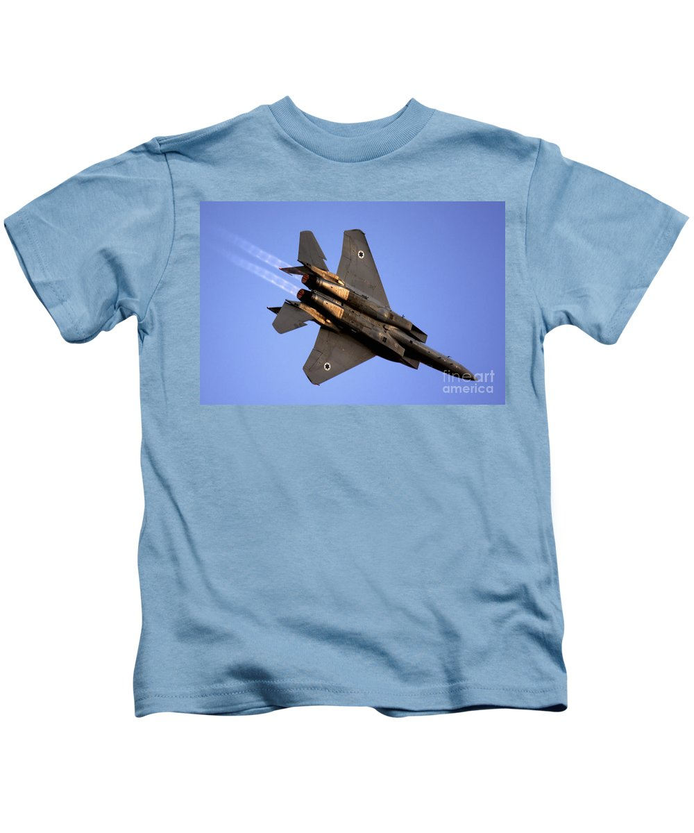 Aircraft Kids T-Shirt featuring the photograph Iaf F15i Fighter Jet On Blue Sky by Nir Ben-Yosef