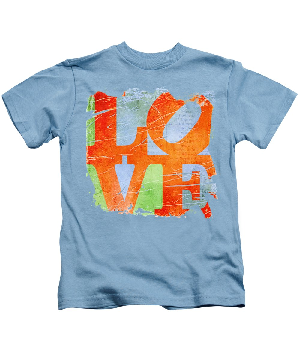 Wright Kids T-Shirt featuring the digital art Iconic Love - Grunge by Paulette B Wright