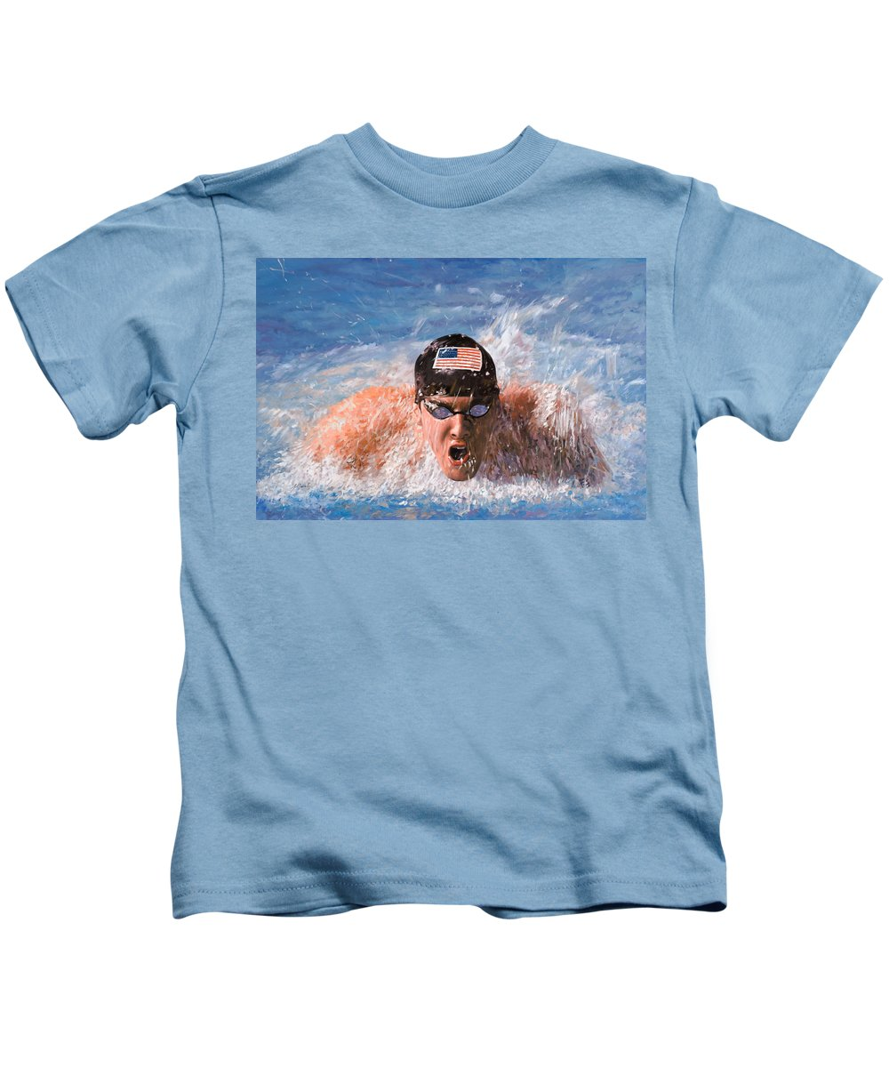 Swim Kids T-Shirt featuring the painting Il Nuotatore by Guido Borelli