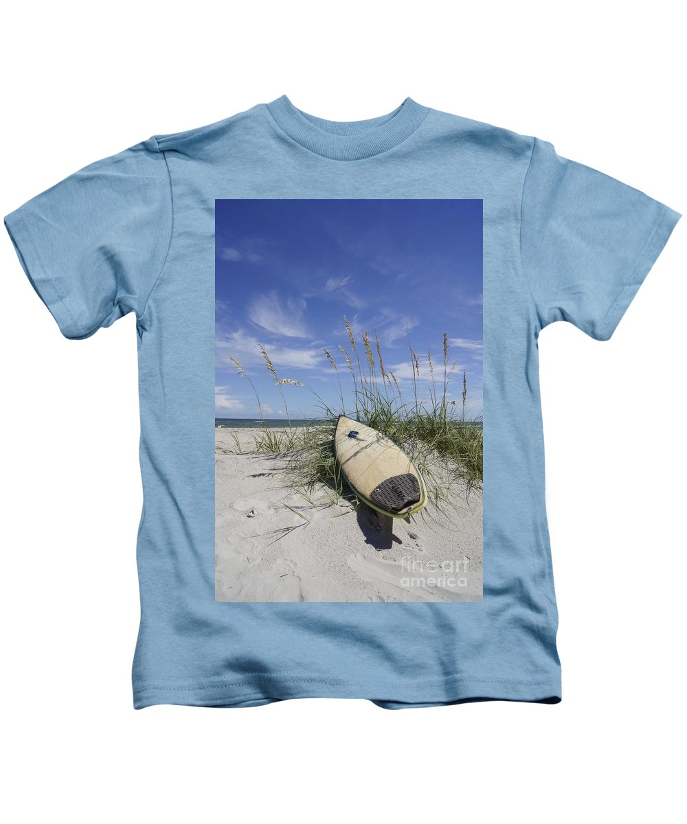 Surfboard Kids T-Shirt featuring the photograph In The Dunes by Benanne Stiens