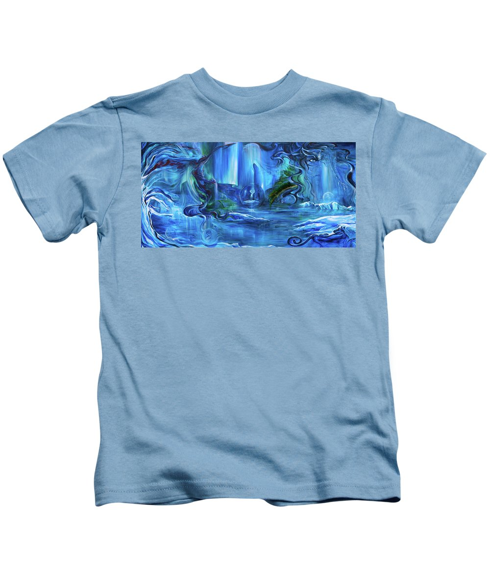 Ice Kids T-Shirt featuring the painting In The Eyes Of Aurora by Jennifer Christenson