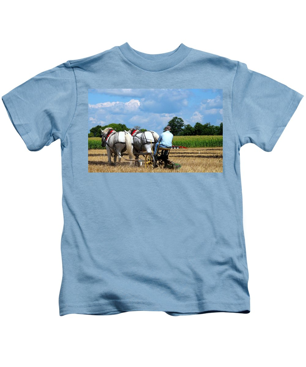 Plowing Kids T-Shirt featuring the photograph In The Groove by Ian MacDonald