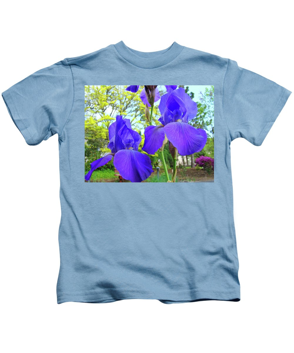Iris Kids T-Shirt featuring the photograph Irises Floral Garden Art Print Blue Purple Iris Flowers Baslee Troutman by Baslee Troutman