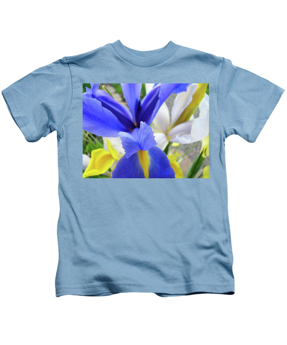 �irises Artwork� Kids T-Shirt featuring the photograph Irises Flowers Artwork Blue Purple Iris Flowers 1 Botanical Floral Garden Baslee Troutman by Baslee Troutman