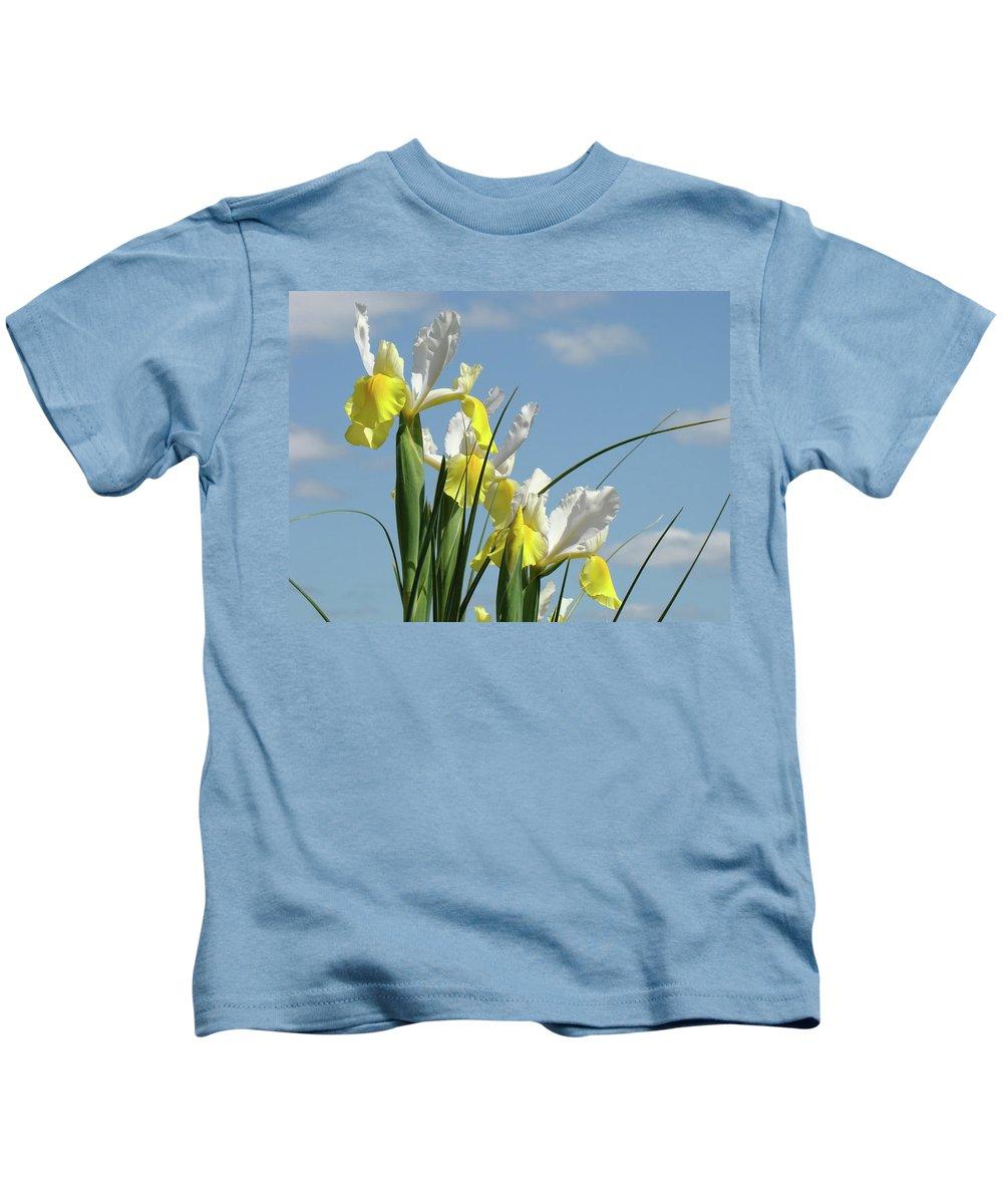 Iris Kids T-Shirt featuring the photograph Irises In Blue Sky Art Print Spring Iris Flowers Baslee Troutman by Baslee Troutman