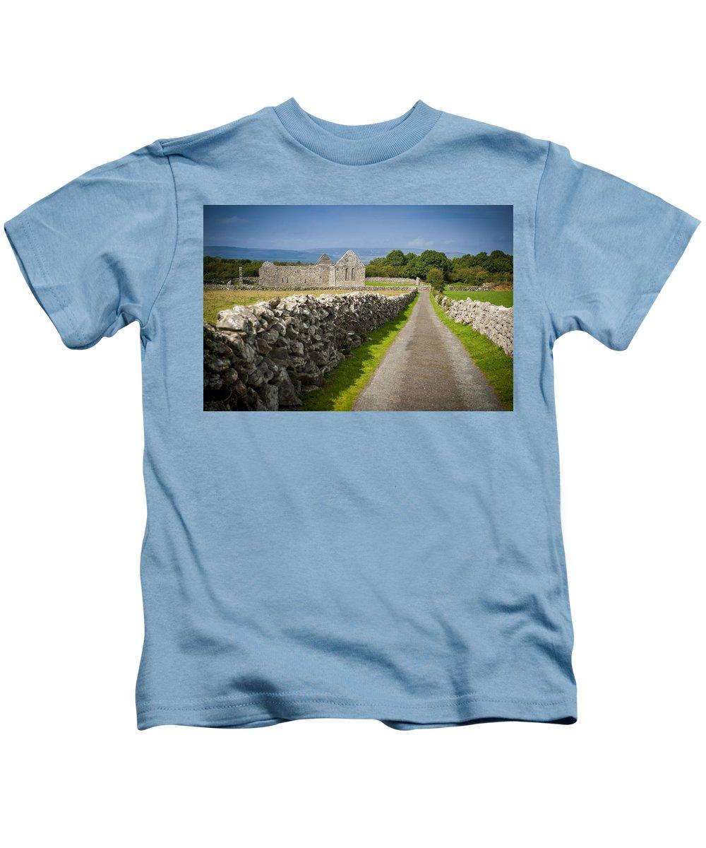 Ireland Kids T-Shirt featuring the photograph Irish Church Ruins by Laurence Ventress