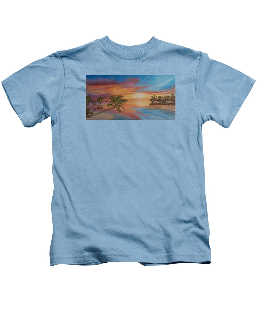 Islands Kids T-Shirt featuring the painting Island Reflections by Christine Brunette